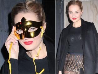 Małgorzata Socha na balu maskowych w przezroczystościach