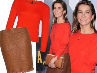 Kamilla Baar w czerwonym swetrze