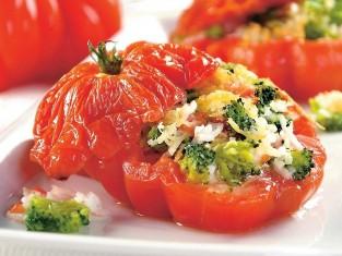 pomidory zapiekane z brokułami przepis, przepis na pomidory pieczone z brokułami, pomidory z farszem z brokułów