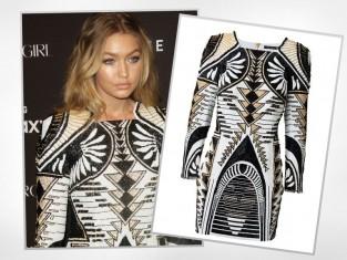Gigi Hadid w sukience Balmain x H&M