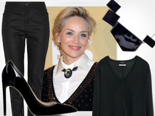 Sharon Stone w czarno-białym zestawie