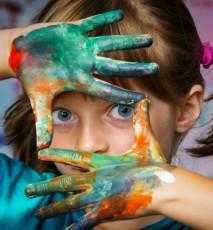 dziecko, sztuka, malowanie farbami