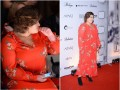 Dominika Gwit w czerwonej sukience na pokazie Łukasza Jemioła