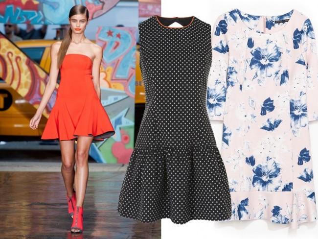 Modne sukienki wiosna-lato 2014, sukienki z falbaną