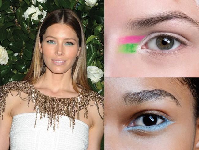 trendy wiosna-lato 2014, makijaż, kolorowa kreska