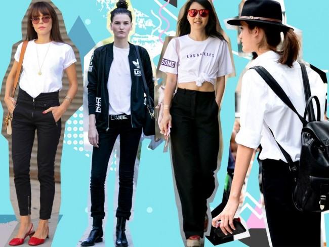 białe t-shirty, czarne jeansy