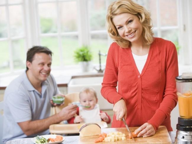 kobieta, dziecko, niemowlę, gotowanie