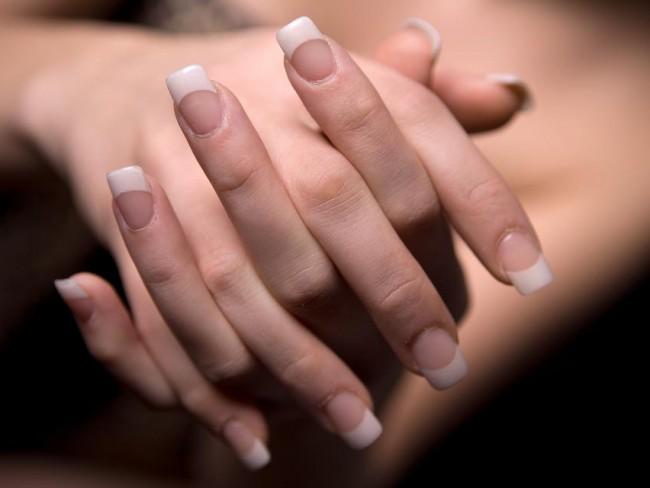 paznokcie, manikiur, french, kobieta