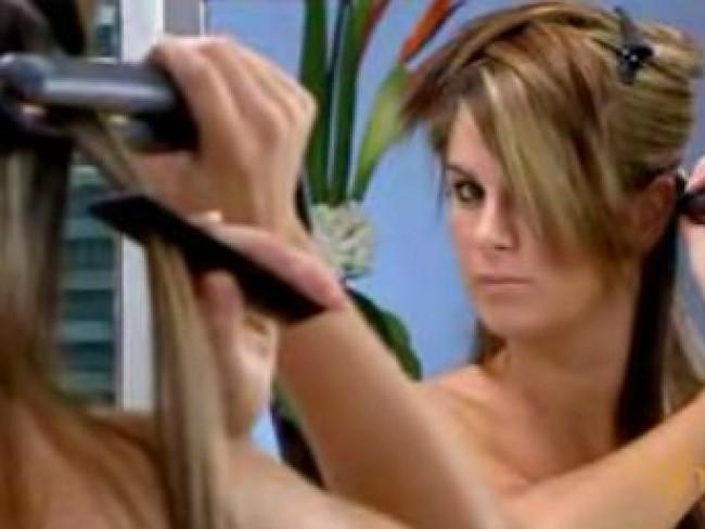 kobieta, włosy, fryzury, prostownica