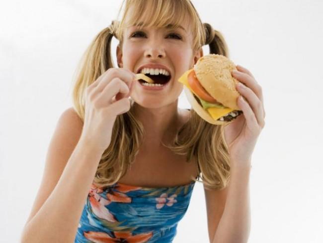 kobieta, hamburger, jedzenie