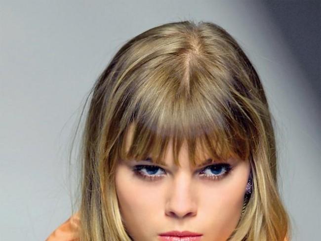 kobieta, modelka, makijaż, fryzury, grzywka