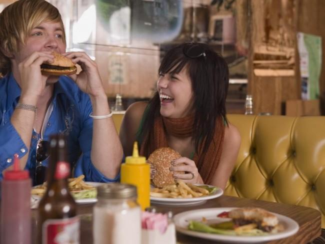 para, jedzenie, restauracja, hamburger