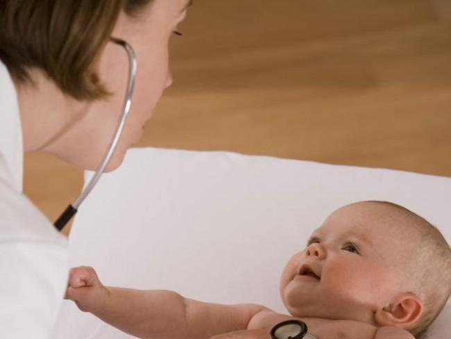 rodzina, dziecko, badanie, niemowlę