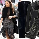 Ekstrawagancki look Kim Kardashian z frędzlami