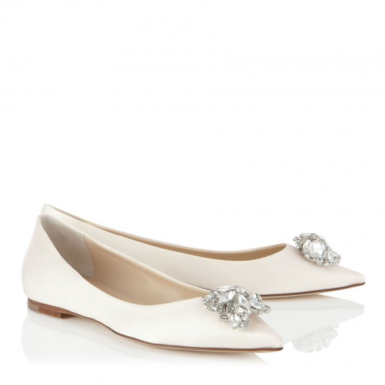Ivory Peep Toe Wedding Shoes With Ankle Strap