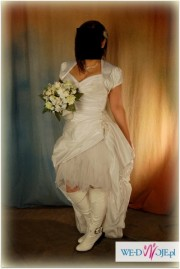 sexy suknia slubna (krótki przód-długi tył, tren) rozm.38, 40