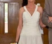 Suknia Prestige prosta długa do ślubu cywilnego i kościelnego ecru  dodatki