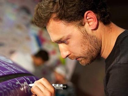 Diogo Machado streetart artysta przy pracy