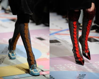 Wełniane skarpetki i opaski do włosów u Prady - trend z mediolańskiego tygodnia mody