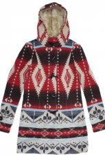 czerwona kurtka C&A we wzory - z kolekcji jesie�-zima