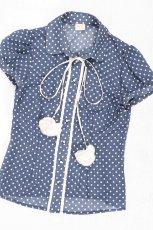 niebieska bluzka Bialcon w kropki rozpinane - moda jesie�/zima 2010
