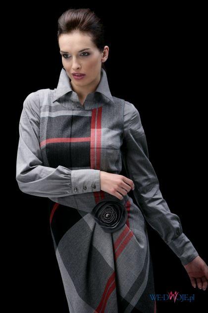 popielata sukienka Modesta w kratkę - jesień/zima 2010/2011