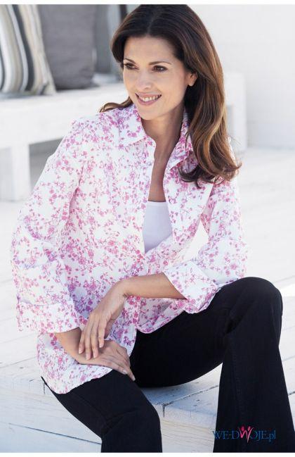 biała bluzka Halens w kwiaty - kolekcja jesienno-zimowa