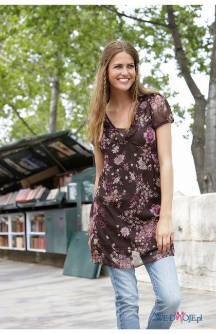 bordowa sukienka Halens w kwiaty - kolekcja jesienno-zimowa