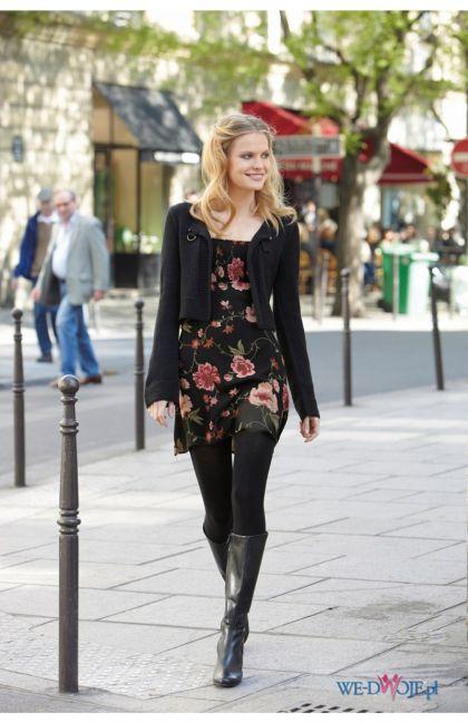 czarna sukienka Halens w kwiaty - kolekcja jesienno-zimowa