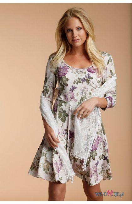 biała sukienka Halens w kwiaty - kolekcja jesienno-zimowa