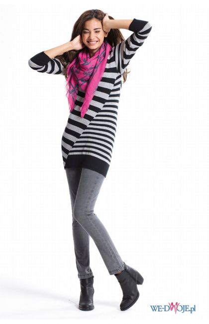 popielaty sweter Halens w paski - kolekcja jesienno-zimowa
