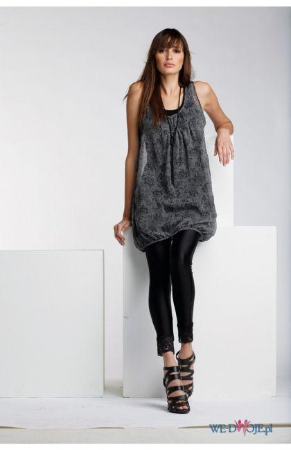 popielata sukienka Halens bombka - moda 2010