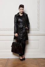 czarny p�aszcz Ochnik ze sk�ry - kolekcja jesienno-zimowa