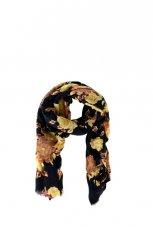 czarna apaszka ZARA w kwiaty - kolekcja jesienno-zimowa