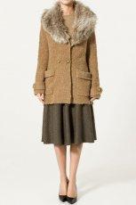 br�zowy p�aszczyk ZARA z futerkiem - kolekcja jesienno-zimowa