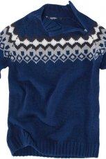 granatowy sweter Pull and Bear we wzory - jesie�-zima 2010/2011