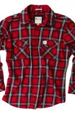 czerwona koszula Springfield w kratk� - z kolekcji jesie�-zima