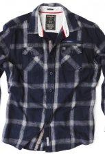 granatowa koszula Springfield w kratk� - kolekcja jesienno-zimowa