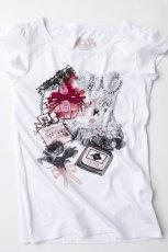 bia�y t-shirt Springfield z nadrukiem - moda jesie�/zima 2010