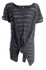 czarna bluzka H&M w paski - trendy jesienne