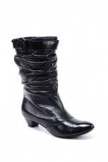 czarne kozaki Ry�ko ze sk�ry - moda zimowa