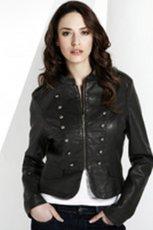 czarna kurtka Marks & Spencer ze sk�ry - jesie�-zima 2010/2011
