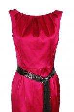 elegancka malinowa sukienka z satyny od Simple - jesie�/zima 2010/2011