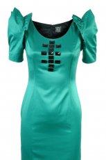 zielona sukienka z czarnymi kamieniami Simple - jesie�/zima 2010/2011