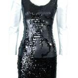 czarna sukienka z cekin�w z bia�ymi r�kawami z bufkami Simple - jesie�/zima 2010/2011
