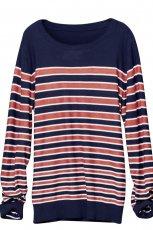 granatowy sweter H&M w paski - wiosna/lato 2011