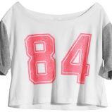 bia�a bluzka H&M z nadrukiem - kolekcja wiosenno/letnia