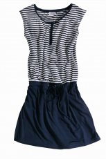 granatowa sukienka Charles V�gele w paski - moda wiosna/lato