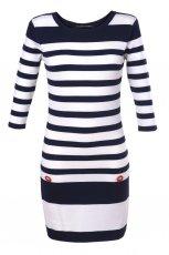 bia�y sweter Top Secret w paski d�ugie - moda wiosna/lato