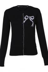 czarny sweter Top Secret z kokard� rozpinany - trendy wiosna-lato